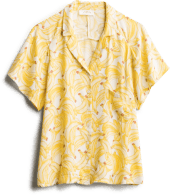 Women's Katie Sturino banana print collared button top.