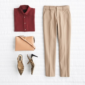 Khaki pants with red button-down, handbag and shoes.