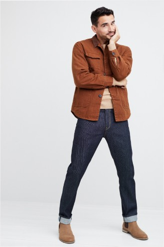 Stitch Fix men's clothes including a brown button shirt, tan t-shirt, jeans and tan boots