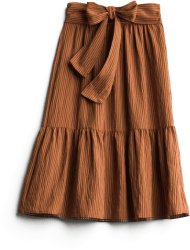Women's long brown ruffle skirt with bow detail.
