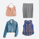 Outfit including a denim jacket, blue printed top, grey skirt and pink tote bag.