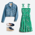Outfit including a denim jacket, green floral sundress and blue wedge sandals.