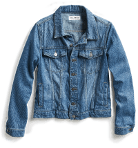 Women's medium wash denim jacket with snap pockets.