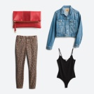 Outfit including a denim jacket, leopard print jeans, black bodysuit and red clutch.