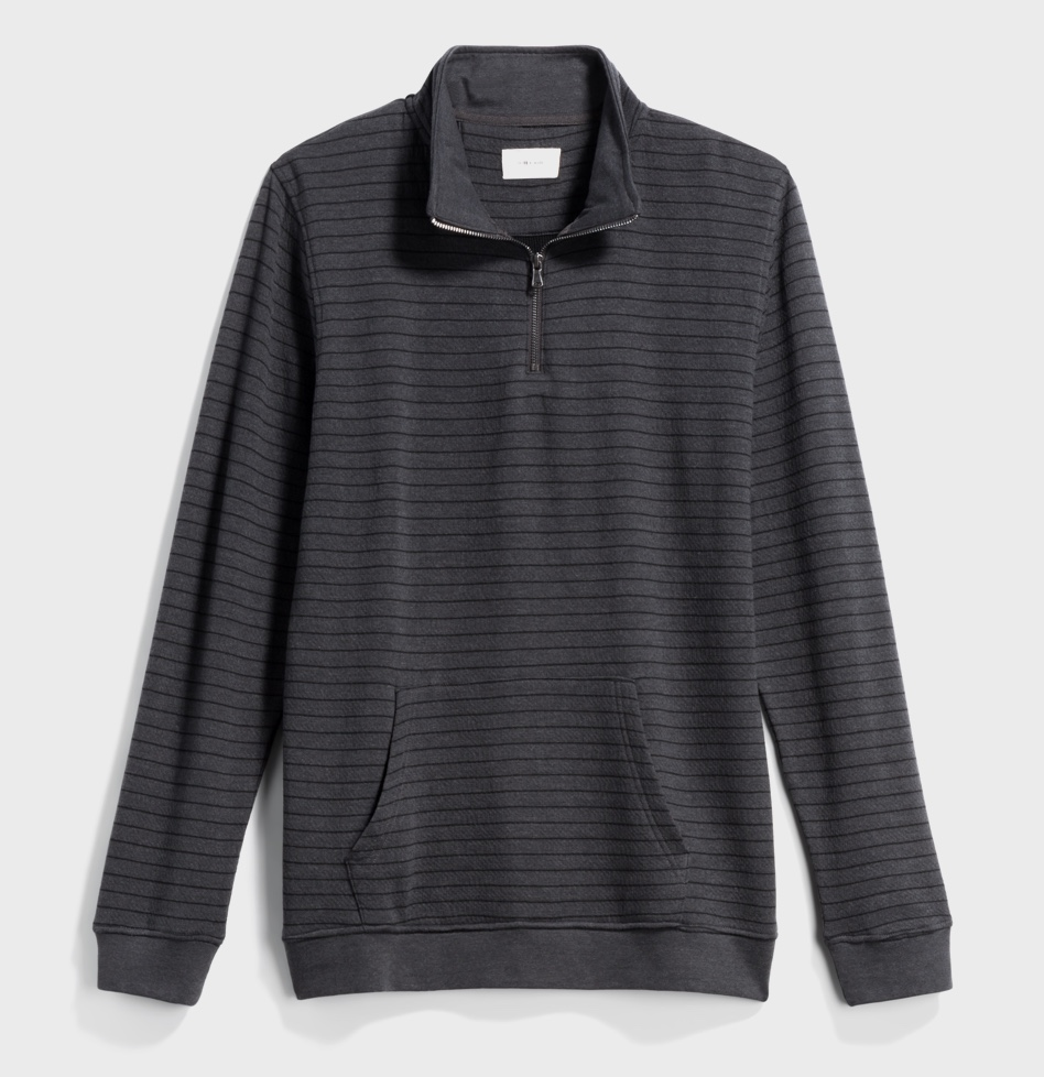 Grey and black striped half-zip shirt with kangaroo pocket.