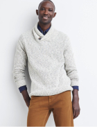 Tan pants with light grey sweater.