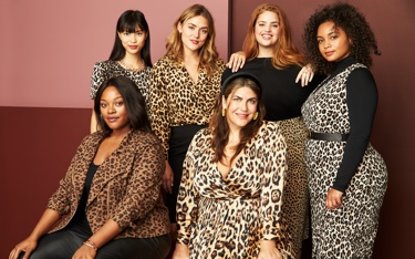 Size inclusive clothing including plus size black and leopard print dresses, skirts, tops and blazer.