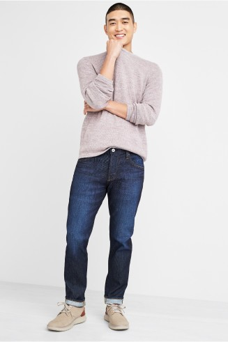 Stitch Fix men's clothes including a grey sweater, dark wash jeans and grey sneakers.