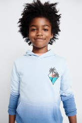 Stitch Fix Kids blue ombre hoodie sweatshirt with palm tree graphic.