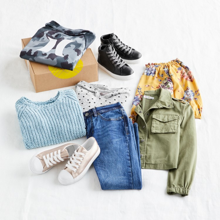 Stitch Fix Kids clothes including sweaters, shirts, skirts, shoes, jeans and jackets
