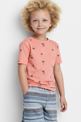 Stitch Fix Kids outfit including an orange tee with graphic pattern, and blue and grey striped shorts.