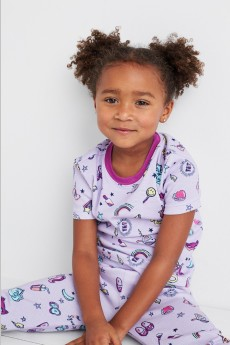 Stitch Fix Kids clothes including purple print pajamas set.