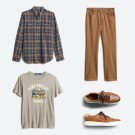 Stitch Fix men's clothes including a blue plaid shirt, tan pants, tan graphic tee and brown shoes.