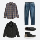 Stitch Fix men's clothes including a blue plaid shirt, jeans, grey jacket and grey shoes.