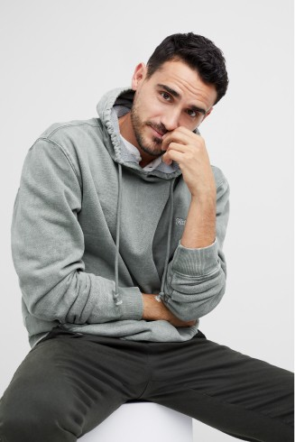 Stitch Fix men's clothes including grey hoodie sweatshirt and grey pants.