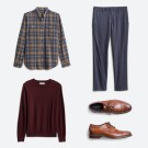 Stitch Fix men's clothes including a blue plaid shirt, grey pants, maroon sweater and brown dress shoes.