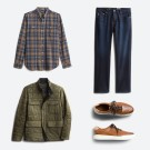 Stitch Fix men's clothes including a blue plaid button shirt.