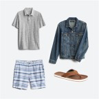 Stitch Fix men's outfits including a grey polo shirt, blue and white shorts, jean jacket and brown leather sandals.