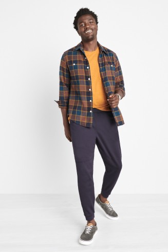 Stitch Fix men's clothes including a yellow t-shirt, blue plaid shirt, navy jogger pants and grey sneakers.