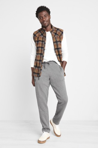 Stitch Fix men's clothes including white shirt, brown plaid vest, grey sweatpants and white sneakers.