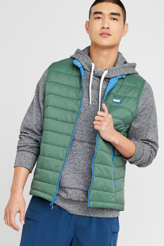 Stitch Fix men's outfit including a grey hoodie sweatshirt, green puffer vest and blue cargo pants.