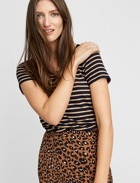 Striped tee with leopard print bottom.