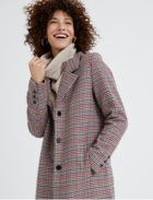 Grey cowl neck jumper with plaid peacoat.