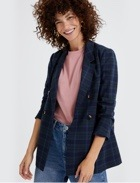 Blue plaid blazer, pink top and jeans.