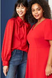 Size inclusive clothing including a red tie neck blouse and jeans, and a plus size red short sleeve dress.