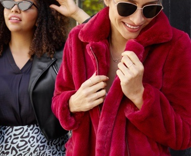 Faux fur moto jacket in burgundy.