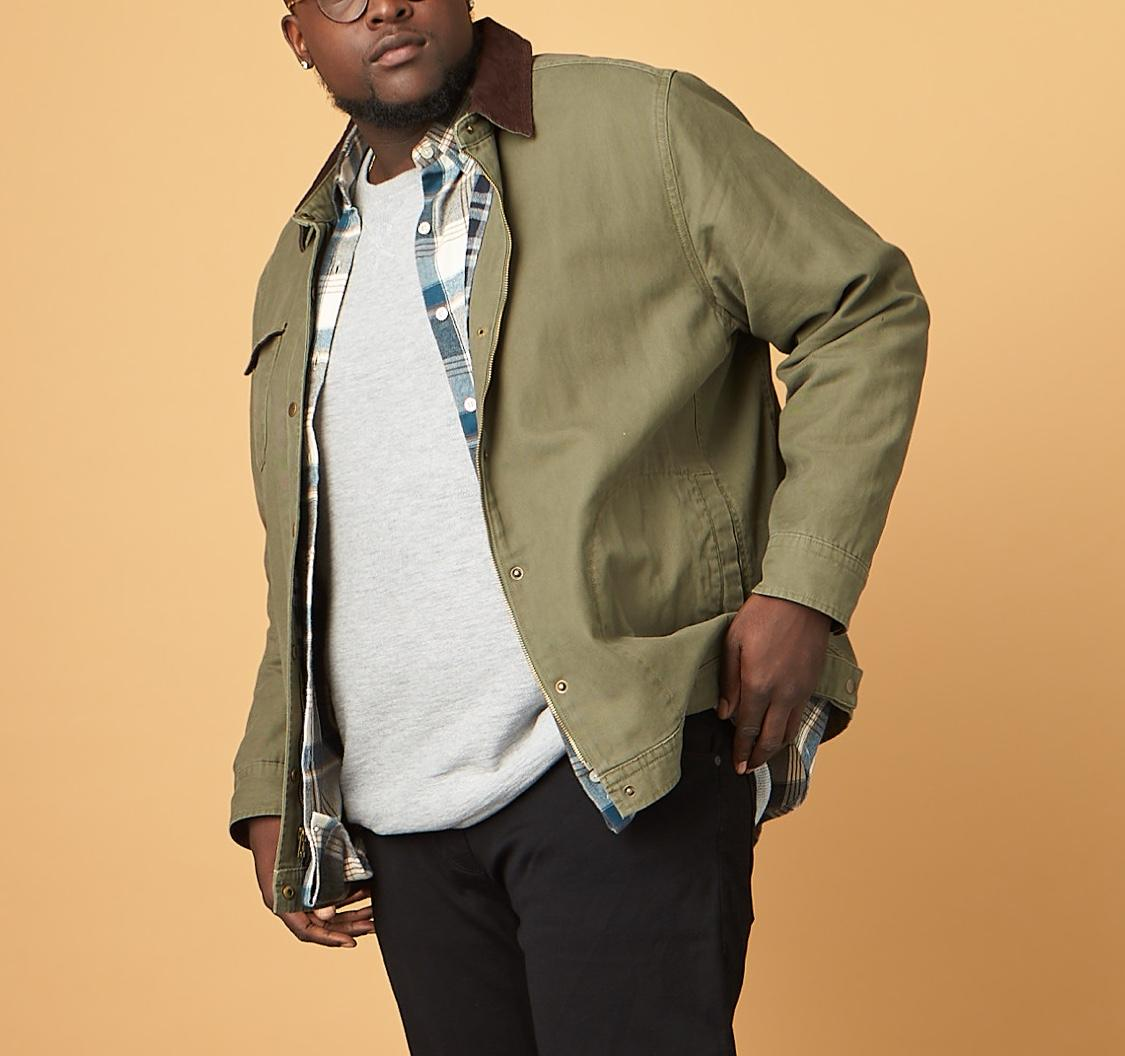 men's big and tall olive jacket