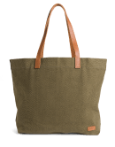 Women's olive green tote bag with leather handles and accents.