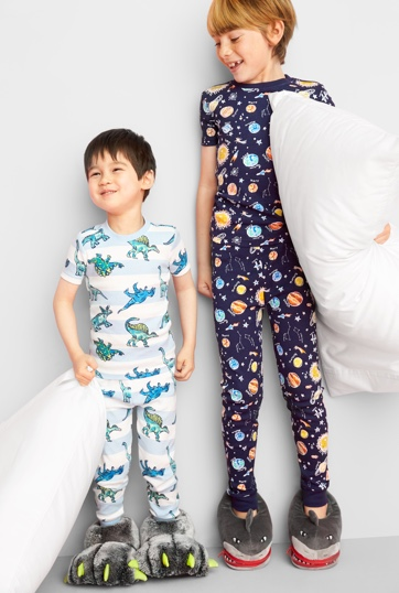 Two pajamas sets, one in light colors and one in dark colors.