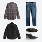 Stitch Fix men's clothes including a blue and tan plaid shirt, jeans, black quilted jacket and grey shoes.