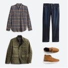 Stitch Fix men's clothes including a blue and tan plaid shirt, jeans, olive green jacket and tan shoes.