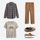Stitch Fix men's clothes including a blue and tan plaid shirt, tan pants, grey graphic tee and brown loafers.