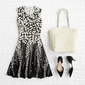Animal print dress with shoes and bag.