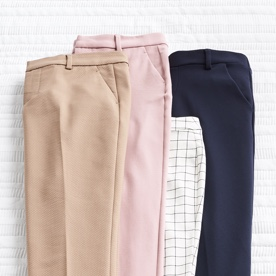 4 pairs of pants in various colors.