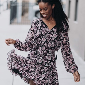 Floral dress with long sleeves.