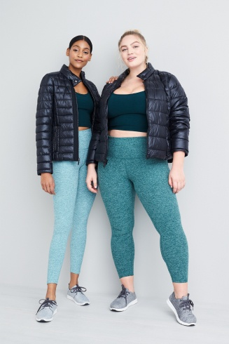 Outfits including a teal workout leggings, black crop exercise top, grey sneakers and dark puffer jackets.