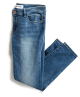 Women's medium wash distressed straight leg jeans.